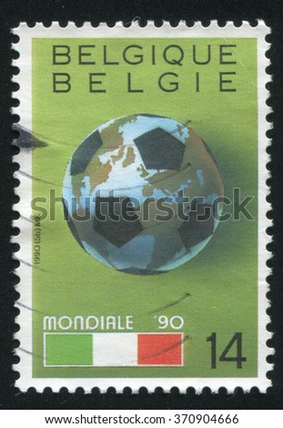 RUSSIA KALININGRAD, 19 OCTOBER 2015: stamp printed by Belgium, shows World Cup Soccer Championships, Italy, circa 1990 - stock photo