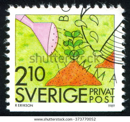 RUSSIA KALININGRAD, 21 OCTOBER 2013: stamp printed by Sweden, shows Gardening, circa 1989 - stock photo