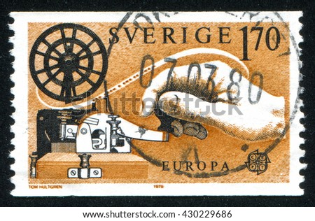 RUSSIA KALININGRAD, 13 OCTOBER 2013: stamp printed by Sweden, shows Hand on telegraph, circa 1979