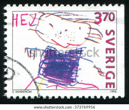 RUSSIA KALININGRAD, 6 OCTOBER 2013: stamp printed by Sweden, shows Happy man Children drawing, circa 1995 - stock photo