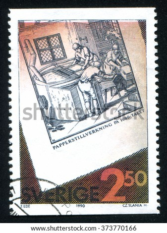 RUSSIA KALININGRAD, 6 OCTOBER 2013: stamp printed by Sweden, shows Paper production, circa 1990 - stock photo