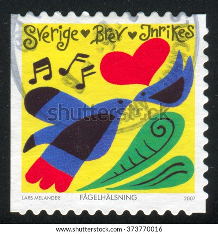 RUSSIA KALININGRAD, 14 SEPTEMBER 2013: stamp printed by Sweden, shows Birds, heart, musical notes, circa 2007 - stock photo