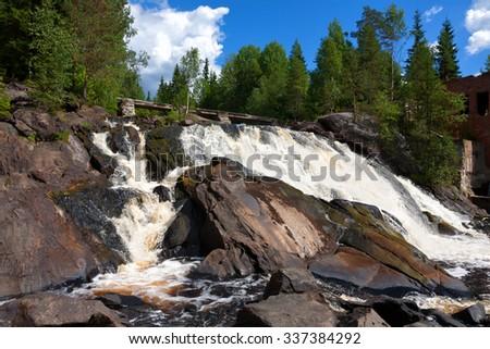 Russia, Karelia. An old dam at the road Sortavala-Vyartselya - stock photo