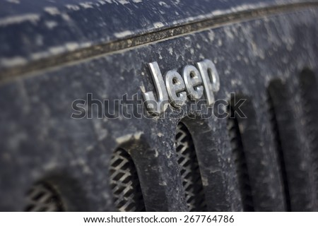 Russia, Leningrad region, March 20, 2015: Photo of jeep Wrangler in Russia. Wrangler is a compact four wheel drive off road and sport utility vehicle, manufactured by American automaker Chrysler. - stock photo