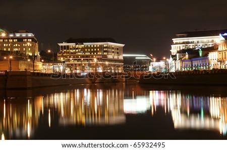 Russia, Moscow Center, night view (panorama) on the drain channel with Luzhkov (Tretyakov) bridge - stock photo
