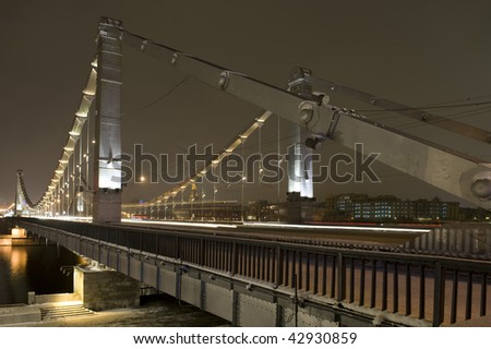 Russia Moscow evening  Bridge with illumination