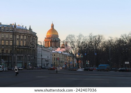 RUSSIA, MOSCOW - January 30, 2014: morning in St. Petersburg. View of St. Isaac's Cathedral in St. Petersburg. St. Petersburg was founded May 16, 1703, the cultural capital of Russia - stock photo