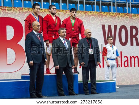 RUSSIA, MOSCOW - MARCH 27: Unidentified prize-winners and honoured guests on World Sambo Championship Kharlampiev memorial in Luzhniki sport palace, Moscow, Russia, 2015