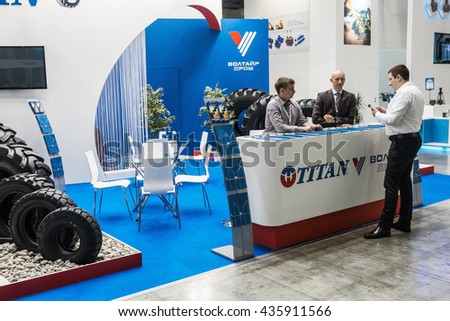 RUSSIA, MOSCOW - May 31, 2016: Visitors and exhibitors visiting the stands and exhibits at the International Specialized Exhibition of Construction Equipment and Technologies at Crocus Expo