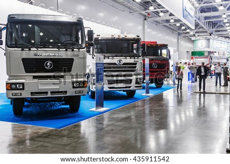 RUSSIA, MOSCOW - May 31, 2016: Visitors at the International Specialized Exhibition of Construction Equipment and Technologies at Crocus Expo. Construction Equipment Exhibition in Moscow. - stock photo