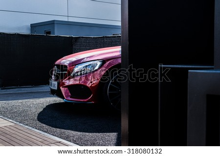 RUSSIA, MOSCOW RACEWAY, AUGUST 28, 2015: MERCEDES C450 AMG red car - stock photo