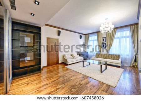 new design living room. Russia  Moscow region interior design living room in luxury new apartment Yellow Living Room Large Dresser Tv Stock Photo 111367304