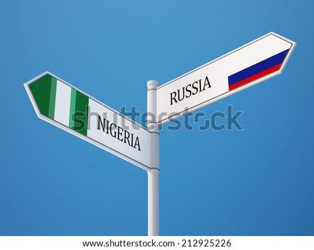 Russia Nigeria High Resolution Sign Flags Concept