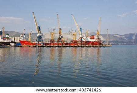 RUSSIA, NOVOROSSIYSK - APRIL 23, 2016:Views of Novorossiysk commercial sea port - stock photo