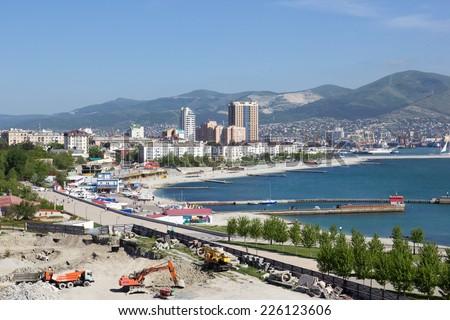 RUSSIA, NOVOROSSIYSK - MAY 9, 2014:Views of Novorossiysk on a sunny day - stock photo