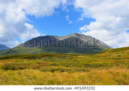 Russia, Republic of Altai, plateau Yoshtykyol in cloudy day