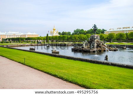 RUSSIA, SAINT-PETERBURG - JUNE 24/2013: Peterhof received visitors after restoration of many exhibits.