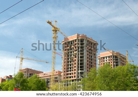 Russia.Saint-Petersburg.In each city many new houses under construction.