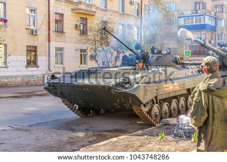 Russia, Samara, May 2017: BMP-2 caterpillar infantry combat vehicle on a city street prepared for the Victory Day parade on a spring sunny day.