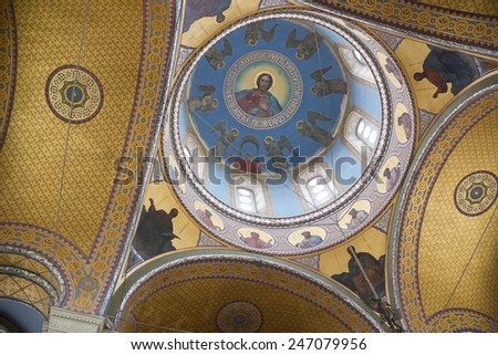 RUSSIA,SEVASTOPOL - JUNE 13, 2014:The interior of the Vladimir Cathedral in Sevastopol.It is the burial place of Russian admirals and naval officers