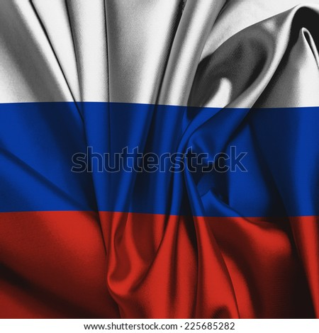 Russia silk flag - stock photo
