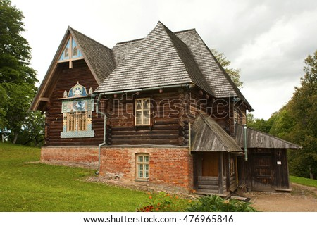 "Russia, Smolensk region - August 16, 2016: Historical and architectural complex ""Teremok"" in the Art Nouveau style in the village Talashkino."