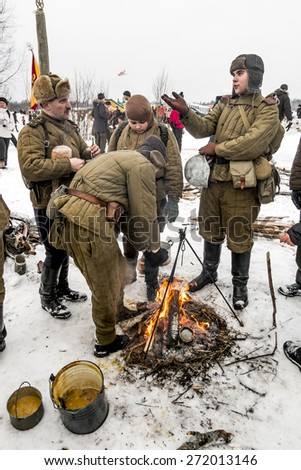 Russia St. Petersburg. January 25, 2015. military history clubs spend renovating the breakout the siege of Leningrad in World War II