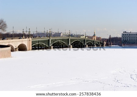 Russia, St. Petersburg. View on a frozen river Neva from the Peter and Paul Fortress. - stock photo