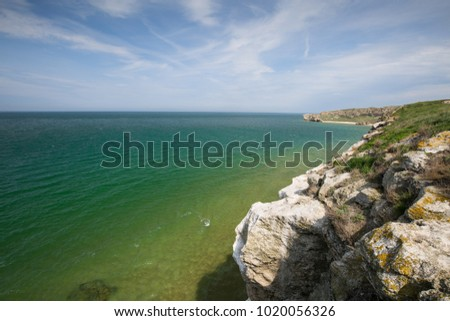 Russia, the Republic of Crimea. The Kerch Strait. Rocky coast of the Azov Sea on a spring day.