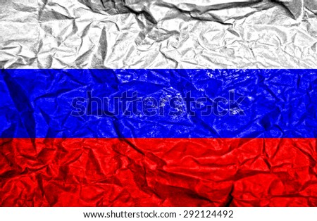 Russia vintage flag on old crumpled paper background - stock photo