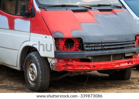 RUSSIA, VORONEZH - 14 NOV 2015: Broken lamp and broken bumper car - stock photo