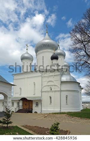 Russia, Yaroslavl Oblast, Pereslavl-Zalessky city (Golden Ring). The Nikitsky male monastery, founded probably in 1010. Nikitsky Cathedral - stock photo