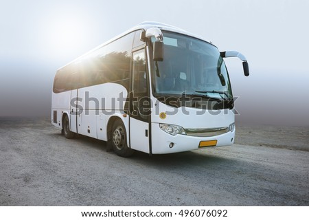RUSSIA, YEKATERINBURG -August 3, 2016 : Modern White Passenger Bus on the Neutral Background, City Tourist Bus Transportation Vehicle, Modern and Comfortable Coach,  Traveling by Bus