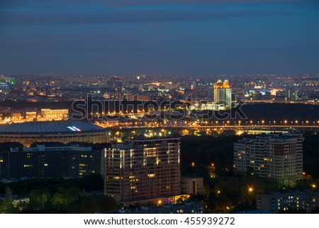Russian Academy of Sciences, Luzhniki stadium at night in Moscow, Russia