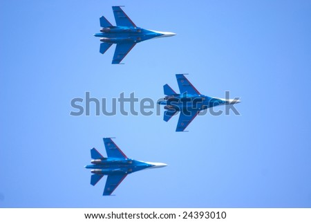 Russian Airplane in the AAirshow - stock photo