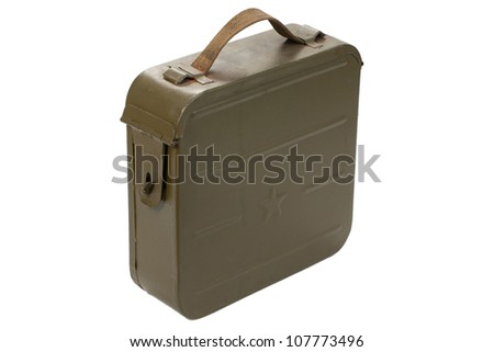 russian ammo case on white background