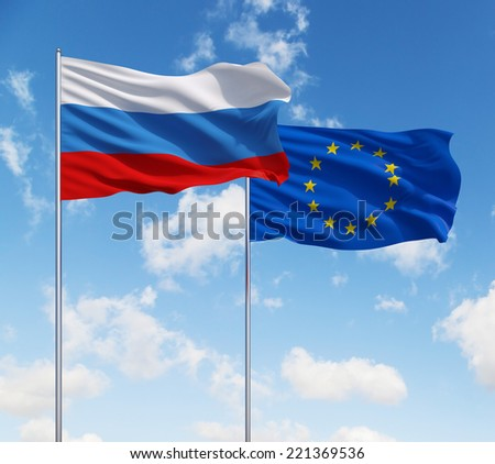 Russian and European Union flags, Alliance. Blue sky background.
