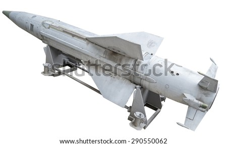 Russian anti - aircraft missile on a white background - stock photo
