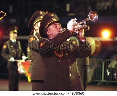 Russian army band at the Edinburgh Miiltary Tattoo 2007 at Edinburgh Castle - stock photo