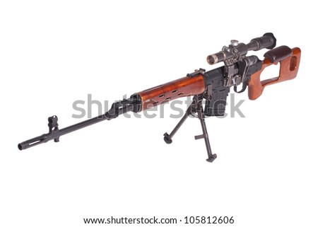 russian army Dragunov sniper rifle with optic sight - stock photo