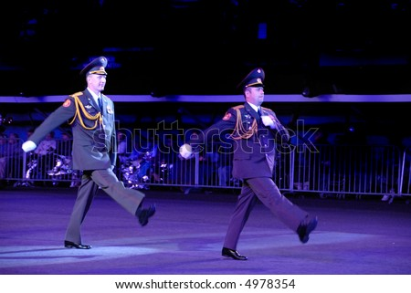 Russian army officers at the Edinburgh Military Tattoo 2007 - stock photo