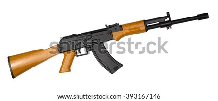 Russian assault rifle AK-47 isolated on white - stock photo