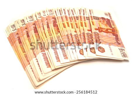 Russian 5000 banknotes on white background - stock photo