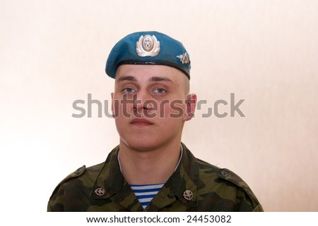 Russian brave solder, paratrooper, airborne troops - stock photo