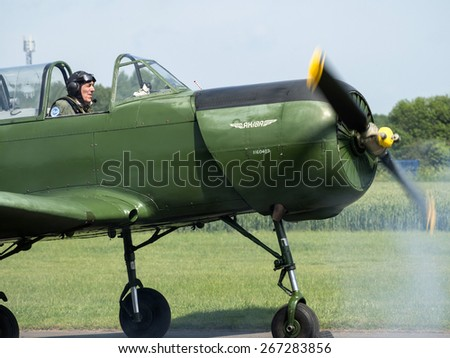Russian built 1950s Yak two-seat pilot training aircraft at Breighton airfield,yorkshire,UK.taken 14/07/2013 - stock photo