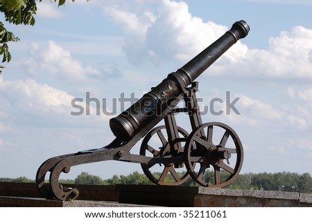 Russian cannon 18 century in historical Russian town Chernigov,Ukraine