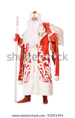 Russian Christmas character Ded Moroz (Father Frost) with a bag - stock photo
