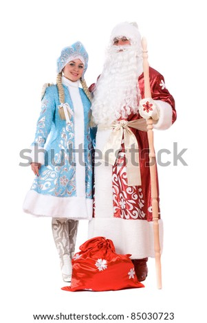 Russian Christmas characters Ded Moroz (Father Frost) and Snegurochka (Snow Maiden). Isolated - stock photo