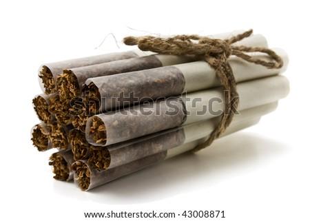 Russian cigarette on a white background - stock photo
