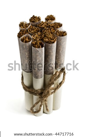 Russian cigarette on a white background - stock photo